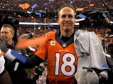 DENVER, CO - JANUARY 24:  Peyton Manning #18 of the Denver Broncos walks off the field after defeating the New England Patriots in the AFC Championship game at Sports Authority Field at Mile High on January 24, 2016 in Denver, Colorado. The Broncos defeated the Patriots 20-18.  (Photo by Dustin Bradford/Getty Images)