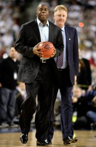 DETROIT - APRIL 06:  Larry Bird (R) and Earvin 'Magic' Johnson walk on the court to be honored for the 30th anniversary of their match up in 1979 NCAA Championship Game between Indiana State and Michigan State prior to the Michigan State Spartans playing against the North Carolina Tar Heels during the 2009 NCAA Division I Men's Basketball National Championship game at Ford Field on April 6, 2009 in Detroit, Michigan.  (Photo by Andy Lyons/Getty Images)