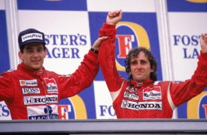 13 Nov 1988:  McLaren Honda driver Alain Prost of France celebrates his victory with team-mate Ayrton Senna of Brazil who finished second after the Australian Formula One Grand Prix held in Adelaide, Australia.  Mandatory Credit: Tony Feder /Allsport