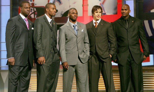First round hopefuls Gaines Adams DE Clemson, Calvin Johnson WR Georgia Tech, Adrian Peterson RB Oklahoma, Brady Quinn QB Notre Dame and Ja Marcus Russell QB LSU during the NFL draft at Radio City Music Hall in New York, NY on Saturday, April 28, 2007. (Photo by Richard Schultz/NFLPhotoLibrary)