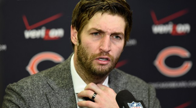MINNEAPOLIS, MN - DECEMBER 28: Jay Cutler #6 of the Chicago Bears speaks to the media after the game against the Minnesota Vikings on December 28, 2014 at TCF Bank Stadium in Minneapolis, Minnesota. The Vikings defeated the Bears 13-9. (Photo by Hannah Foslien/Getty Images)