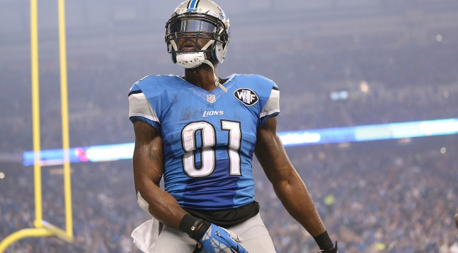 DETROIT MI - NOVEMBER 26: Wide receiver Calvin Johnson #81 of the Detroit Lions celebrates a third quarter touchdown against the Philadelphia Eagles on November 26, 2015 at Ford Field in Detroit, Michigan. (Photo by Leon Halip/Getty Images)