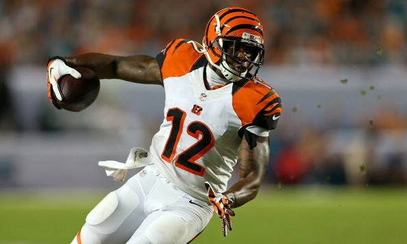 MIAMI GARDENS, FL - OCTOBER 31: Mohamed Sanu #12 of the Cincinnati Bengals runs after a catch during a game against the Miami Dolphins at Sun Life Stadium on October 31, 2013 in Miami Gardens, Florida. (Photo by Mike Ehrmann/Getty Images)