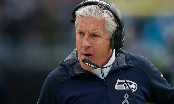 CHARLOTTE, NC - JANUARY 17:  Head coach Pete Carroll of the Seattle Seahawks looks on against the Carolina Panthers in the 2nd quarter during the NFC Divisional Playoff Game at Bank of America Stadium on January 17, 2016 in Charlotte, North Carolina.  (Photo by Jamie Squire/Getty Images)