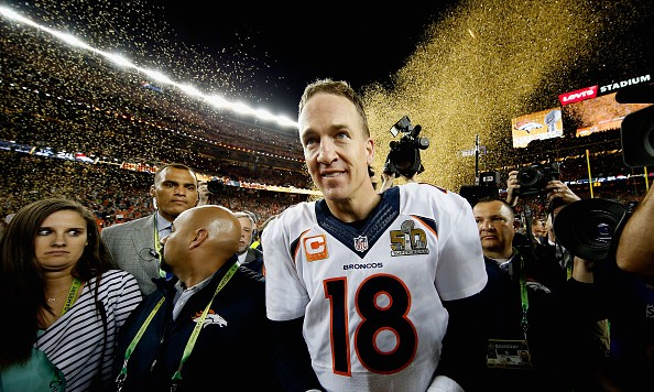 SANTA CLARA, CA - FEBRUARY 07:  Peyton Manning #18 of the Denver Broncos celebrates after the Denver Broncos defeated the Carolina Panthers with a score of 24 to 10 to win  Super Bowl 50 at Levi's Stadium on February 7, 2016 in Santa Clara, California.  (Photo by Ezra Shaw/Getty Images)