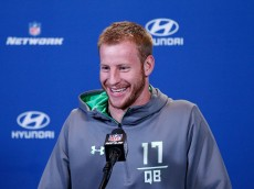 INDIANAPOLIS, IN - FEBRUARY 25: Quarterback Carson Wentz #17 of North Dakota State speaks to the media during the 2016 NFL Scouting Combine at Lucas Oil Stadium on February 25, 2016 in Indianapolis, Indiana. (Photo by Joe Robbins/Getty Images)