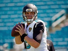 JACKSONVILLE, FL - SEPTEMBER 21:  Blake Bortles #5 of the Jacksonville Jaguars warms up before the game against the Indianapolis Colts at EverBank Field on September 21, 2014 in Jacksonville, Florida.  (Photo by Rob Foldy/Getty Images)