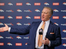 ENGLEWOOD, CO - JANUARY  20:  John Elway, Executive Vice President of Football Operations/General Manager for the Denver Broncos addresses the media during a press conference to introduce Gary Kubiak as the new head coach at Dove Valley on January 20, 2015 in Englewood, Colorado. Kubiak was named the 15th head coach in Broncos history after spending last season as the Baltimore Ravens offensive coordinator. (Photo by Justin Edmonds/Getty Images)