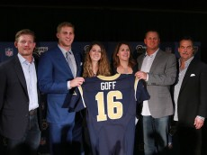 speaks during the Los Angeles Rams press conference to introduce 2016 NFL first round draft pick Jared Goff on April 29, 2016 in Los Angeles, California.