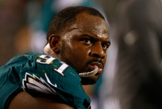 PHILADELPHIA, PA - DECEMBER 26: Fletcher Cox #91 of the Philadelphia Eagles looks on during the closing moments of a game against the Washington Redskins at Lincoln Financial Field on December 26, 2015 in Philadelphia, Pennsylvania. The Redskins defeated the Eagles 38-24. (Photo by Rich Schultz/Getty Images)