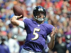 TAMPA, FL - OCTOBER 12: Quarterback Joe Flacco (5) of the Baltimore Ravens throws the ball against the Tampa Bay Buccaneers at Raymond James Stadium on October 12, 2014 in Tampa, Florida. (Photo by Cliff McBride/Getty Images)