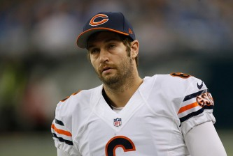 DETROIT, MI - NOVEMBER 27: Jay Cutler #6 of the Chicago Bears looks on from the bench during the first quarter while playing the Detroit Lions at Ford Field on November 27, 2014 in Detroit, Michigan. (Photo by Gregory Shamus/Getty Images)