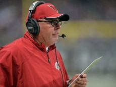 ST LOUIS, MO - DECEMBER 11:  Head coach Bruce Arians of the Arizona Cardinals looks on against the St. Louis Rams during their game at Edward Jones Dome on December 11, 2014 in St Louis, Missouri.  (Photo by Michael Thomas/Getty Images)