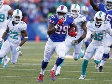 ORCHARD PARK, NY - NOVEMBER 08:  Karlos Williams #29 of the Buffalo Bills runs the ball against the Miami Dolphins during the second half at Ralph Wilson Stadium on November 8, 2015 in Orchard Park, New York.  (Photo by Brett Carlsen/Getty Images)