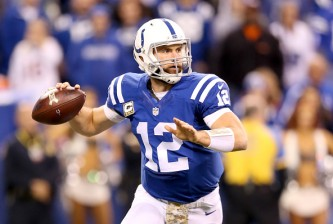 INDIANAPOLIS, IN - NOVEMBER 08:  Andrew Luck #12 of the Indianapolis Colts throws the ball during the game against the Denver Broncos at Lucas Oil Stadium on November 8, 2015 in Indianapolis, Indiana.  (Photo by Andy Lyons/Getty Images)