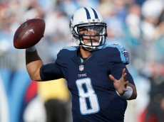 NASHVILLE, TN - DECEMBER 6:  Marcus Mariota #8 of the Tennessee Titans throws against the Jacksonville Jaguars during the game at Nissan Stadium on December 6, 2015 in Nashville, Tennessee. (Photo by Wesley Hitt/Getty Images)
