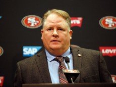SANTA CLARA, CA - JANUARY 20:  Chip Kelly speaks to the media during a press conference where he announced as the new head coach of the San Francisco 49ers at Levi's Stadium on January 20, 2016 in Santa Clara, California.  (Photo by Ezra Shaw/Getty Images)