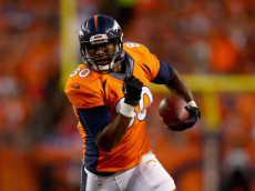 DENVER, CO - SEPTEMBER 07:  Tight end Julius Thomas #80 of the Denver Broncos carries the ball against the Indianapolis Colts at Sports Authority Field at Mile High on September 7, 2014 in Denver, Colorado.  (Photo by Jeff Gross/Getty Images)