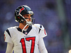 MINNEAPOLIS, MN - OCTOBER 9:  Brock Osweiler #17 of the Houston Texans looks on as he warms up before the game against the Minnesota Vikings on October 9, 2016 at US Bank Stadium in Minneapolis, Minnesota. (Photo by Adam Bettcher/Getty Images)