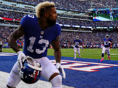 EAST RUTHERFORD, NJ - OCTOBER 16: Odell Beckham #13 of the New York Giants removes his helmet and draws a penalty after scoring the go ahead touchdown against the Baltimore Ravens in the fourth quarter with the Giants winning 27-23 during their game at MetLife Stadium on October 16, 2016 in East Rutherford, New Jersey. (Photo by Al Bello/Getty Images)