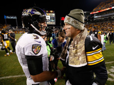 PITTSBURGH, PA - NOVEMBER 02:  Ben Roethlisberger #7 of the Pittsburgh Steelers is congratulated by Joe Flacco #5 of the Baltimore Ravens after a 43-23 win at Heinz Field on November 2, 2014 in Pittsburgh, Pennsylvania.  (Photo by Gregory Shamus/Getty Images)