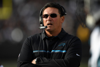 OAKLAND, CA - NOVEMBER 27:  Head coach Ron Rivera of the Carolina Panthers looks on against the Oakland Raiders during their NFL game on November 27, 2016 in Oakland, California.  (Photo by Thearon W. Henderson/Getty Images)