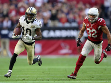GLENDALE, AZ - DECEMBER 18:  Wide receiver Brandin Cooks #10 of the New Orleans Saints scores on a 45 yard touchdown reception past free safety Tyrann Mathieu #32 of the Arizona Cardinals during the second quarter of the NFL game at the University of Phoenix Stadium on December 18, 2016 in Glendale, Arizona.  (Photo by Christian Petersen/Getty Images)