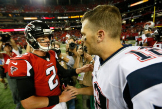 ATLANTA, GA - SEPTEMBER 29:  Tom Brady #12 of the New England Patriots is congratulated by Matt Ryan #2 of the Atlanta Falcons after their 30-23 win at Georgia Dome on September 29, 2013 in Atlanta, Georgia.  (Photo by Kevin C. Cox/Getty Images)