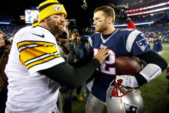 FOXBORO, MA - NOVEMBER 03:  Ben Roethlisberger #7 of the Pittsburgh Steelers greets Tom Brady #12 of the New England Patriots following the game at Gillette Stadium on November 3, 2013 in Foxboro, Massachusetts.  (Photo by Jared Wickerham/Getty Images)