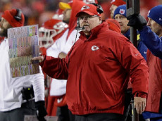 KANSAS CITY, MP - JANUARY 15: Head coach Andy Reid of the Kansas City Chiefs looks on from the sidelines against the Pittsburgh Steelers during the second half in the AFC Divisional Playoff game at Arrowhead Stadium on January 15, 2017 in Kansas City, Missouri. (Photo by Jamie Squire/Getty Images)