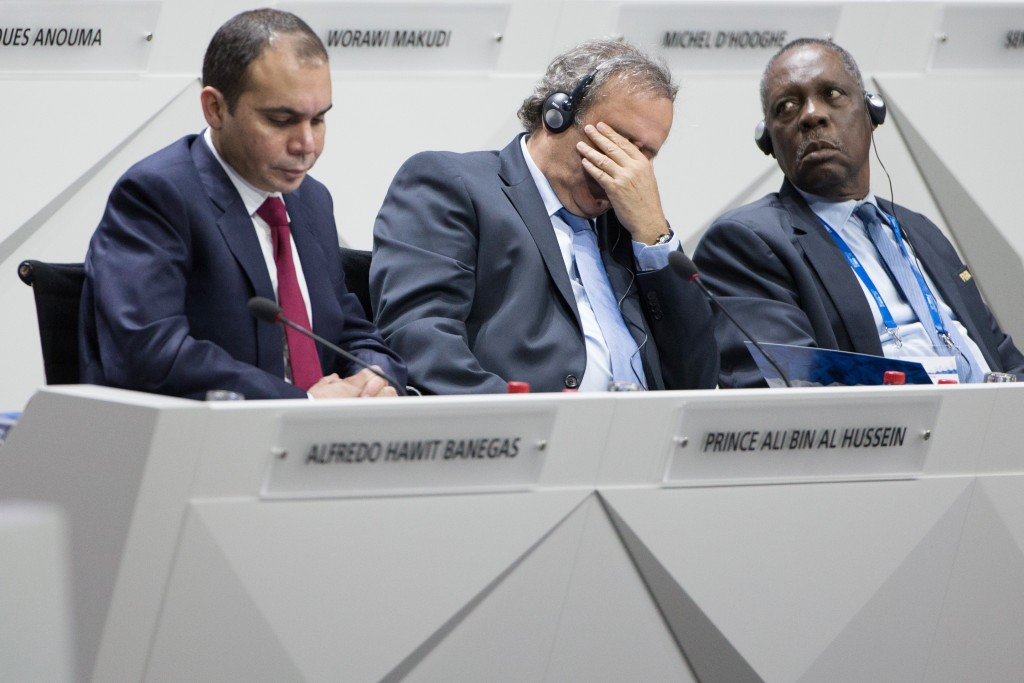 ZURICH, SWITZERLAND - MAY 29: (L-R) Jordanian Prince Ali bin al Hussein, FIFA vice president and Challenger to Joseph S. Blatter for the FIFA presidency, UEFA president Michel Platini and Issa Hayatou, FIFA Executive Committee member attend the 65th FIFA Congress at Hallenstadion on May 29, 2015 in Zurich, Switzerland. (Photo by Philipp Schmidli/Getty Images)