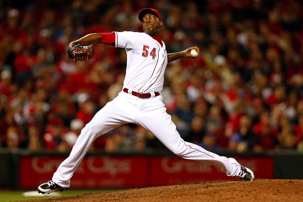 CINCINNATI, OH - SEPTEMBER 23:  Aroldis Chapman #54 of the Cincinnati Reds throws a pitch during the ninth inning against the New York Mets at Great American Ball Park on September 23, 2013 in Cincinnati, Ohio. Cincinnati defeated New York 3-2 in 10 innings. (Photo by Kirk Irwin/Getty Images)