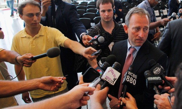 NEWARK, NJ - AUGUST 15: New Jersey Devils owner  Joshua Harris (R) is interviewed by the media during the press conference announcing the new ownership of the New Jersey Devils on August 15, 2013 in Newark, New Jersey. (Photo by Andy Marlin/Getty Images)