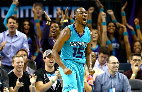 CHARLOTTE, NC - OCTOBER 29:  Kemba Walker #15 of the Charlotte Hornets reacts after making a shot against the Milwaukee Bucks during their game at Time Warner Cable Arena on October 29, 2014 in Charlotte, North Carolina.  The Charlotte Hornets defeated the Milwaukee Bucks 108-106 in overtime. (Photo by Streeter Lecka/Getty Images)