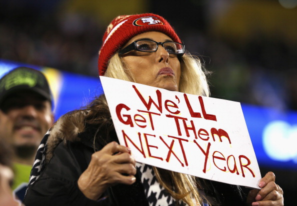 EAST RUTHERFORD, NJ - FEBRUARY 02: A fan wearing a San Francisco 49ers hat holds up a sign that reads 'We'll Get Them Next Year' as the Seattle Seahawks take on the Denver Broncos during Super Bowl XLVIII at MetLife Stadium on February 2, 2014 in East Rutherford, New Jersey.  (Photo by Kevin C. Cox/Getty Images)