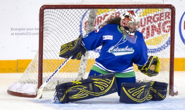 Columbus, GA - MARCH 13:  Shannon Szabados #40 of the Columbus Cottonmouths during warm ups at Columbus Civic Center on March 13, 2014 in Columbus, Georgia. The Pensacola Ice Flyers defeated the Columbus Cottonmouths 5-0. (Photo by Todd Kirkland/Getty Images)
