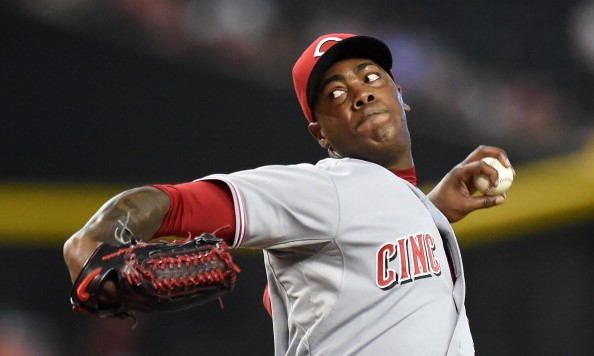 PHOENIX, AZ - JUNE 01:  Aroldis Chapman #54 of the Cincinnati Reds delivers a ninth inning pitch against the Arizona Diamondbacks at Chase Field on June 1, 2014 in Phoenix, Arizona. Reds won 4-3. (Photo by Norm Hall/Getty Images)