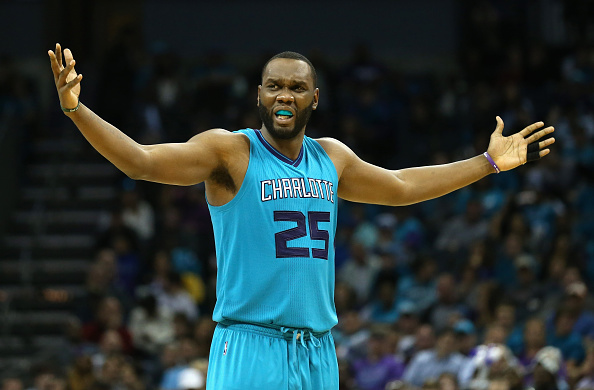 CHARLOTTE, NC - NOVEMBER 01:  Al Jefferson #25 of the Charlotte Hornets reacts after a play during their game against the Atlanta Hawks at Time Warner Cable Arena on November 1, 2015 in Charlotte, North Carolina. NOTE TO USER: User expressly acknowledges and agrees that, by downloading and or using this photograph, User is consenting to the terms and conditions of the Getty Images License Agreement.  (Photo by Streeter Lecka/Getty Images)