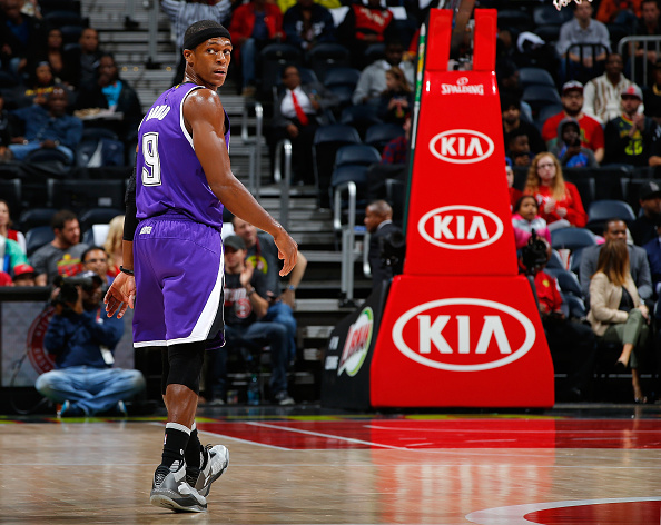 ATLANTA, GA - NOVEMBER 18:  Rajon Rondo #9 of the Sacramento Kings in action against the Atlanta Hawks at Philips Arena on November 18, 2015 in Atlanta, Georgia.  NOTE TO USER User expressly acknowledges and agrees that, by downloading and or using this photograph, user is consenting to the terms and conditions of the Getty Images License Agreement.  (Photo by Kevin C. Cox/Getty Images)