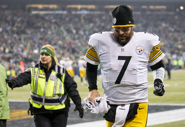 Ben Roethlisberger, leaving the field after a possible concussion
