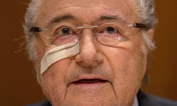 ZURICH, SWITZERLAND - DECEMBER 21: FIFA president Joseph S. Blatter attends a press conference as reaction to his banishment for eight years by the FIFA ethics committee at FIFA's former headquarters at Sonnenberg on December 21, 2015 in Zurich, Switzerland. (Photo by Philipp Schmidli/Getty Images)