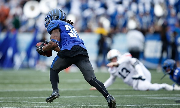BIRMINGHAM, AL - DECEMBER 30: Reggis Ball #39 of the Memphis Tigers intercepts a pass from Sean White #13 of the Auburn Tigers and returns it 56 yards for a touchdown in the second quarter of the Birmingham Bowl at Legion Field on December 30, 2015 in Birmingham, Alabama. (Photo by Joe Robbins/Getty Images)