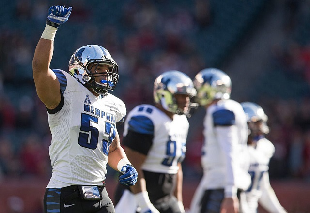 PHILADELPHIA, PA - NOVEMBER 21: Leonard Pegues #53 of the Memphis Tigers reacts after the Tigers defense stopped the Temple Owls on fourth down in the second quarter on November 21, 2015 at Lincoln Financial Field in Philadelphia, Pennsylvania. (Photo by Mitchell Leff/Getty Images) *** Local Caption *** Leonard Pegues