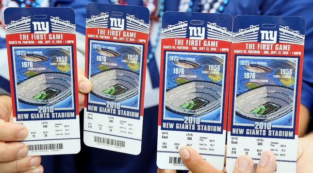 EAST RUTHERFORD, NJ - SEPTEMBER 12:  Tickets are seen prior to the first game at the New Meadowlands Stadium between the Carolina Panthers and the New York Giants on September 12, 2010  in East Rutherford, New Jersey.  (Photo by Jim McIsaac/Getty Images)