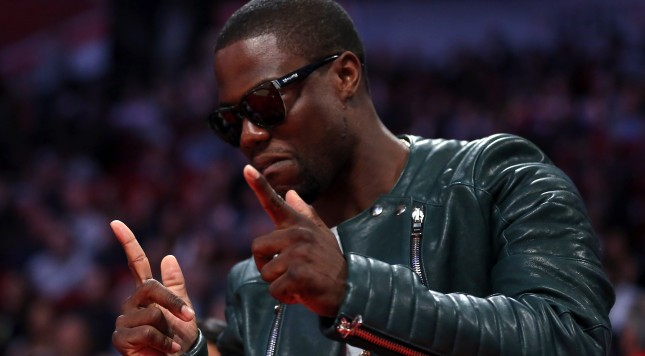 HOUSTON, TX - FEBRUARY 17:  Actor/comedian Kevin Hart reacts during the 2013 NBA All-Star game at the Toyota Center on February 17, 2013 in Houston, Texas. NOTE TO USER: User expressly acknowledges and agrees that, by downloading and or using this photograph, User is consenting to the terms and conditions of the Getty Images License Agreement.  (Photo by Ronald Martinez/Getty Images)