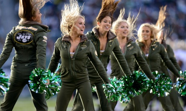 EAST RUTHERFORD, NJ - NOVEMBER 3: New York Jets Flight Crew cheerleaders perform in the 2nd half of the Jets 26-20 win over the New Orleans Saints at MetLife Stadium on November 3, 2013 in East Rutherford, New Jersey. (Photo by Ron Antonelli/Getty Images)
