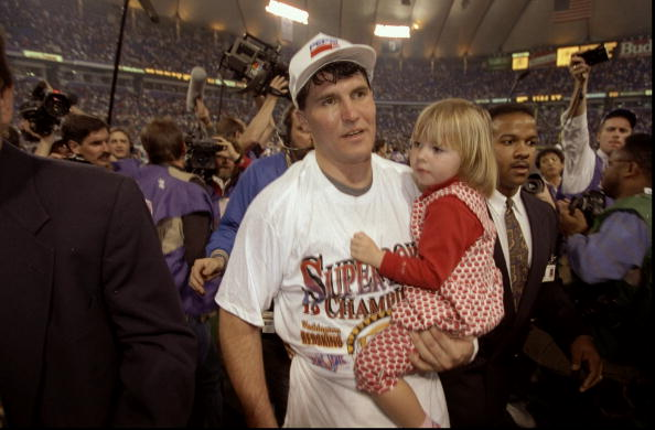 Jan 26, 1992:  Quarterback Mark Rypien of the Washington Redskins holds his daughter after Super Bowl XXVI against the Buffalo Bills at the Hubert Humphrey Metrodome in Minneapolis, Minnesota.  The Redskins defeated the Bills 37-24. Mandatory Credit: Rick Ste