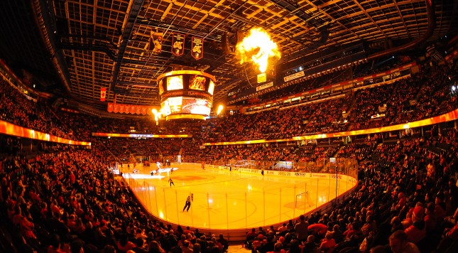 CALGARY, AB - NOVEMBER 20: A general view of the interior of Scotiabank Saddledome prior to an NHL game between the Calgary Flames and the Columbus Blue Jackets on November 20, 2013 in Calgary, Alberta, Canada. (Photo by Derek Leung/Getty Images)