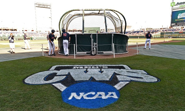 Omaha, NE - JUNE 22:  The Virginia Cavaliers take batting practice before game one of the College World Series Championship Series against the Vanderbilt Commodores on June 22, 2015 at TD Ameritrade Park in Omaha, Nebraska.  (Photo by Peter Aiken/Getty Images) *** Local Caption ***