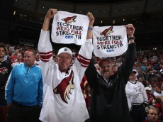 """GLENDALE, AZ - APRIL 13:  Fans of the Phoenix Coyotes hold up towels reading """"Together We're Full Strength"""" during the NHL game against the Dallas Stars at Jobing.com Arena on April 13, 2014 in Glendale, Arizona. The Coyotes defeated the Stars 1-0.   (Photo by Christian Petersen/Getty Images)"""